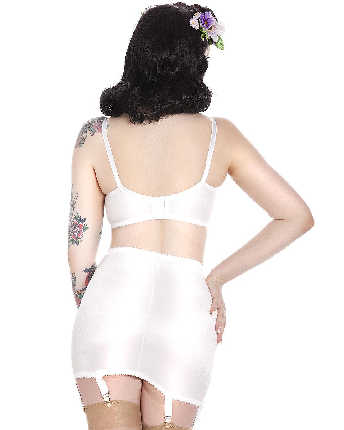Gina Vintage Style Girdle - White - Cosmic Girl Clothing