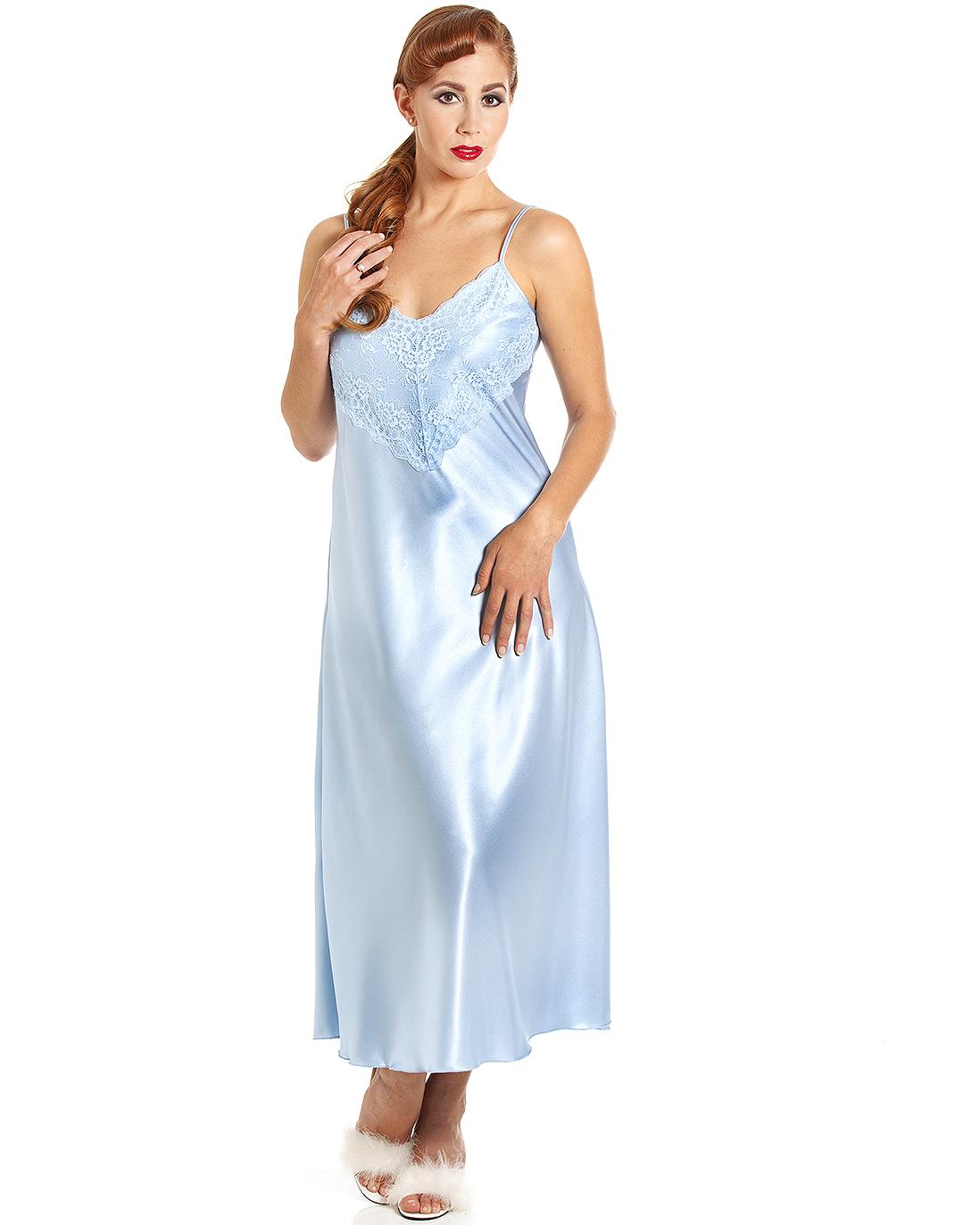 4a05f0f4dfd Jane Lace Trim Satin Long Nightdress - Arcadian Blue - Cosmic Girl ...