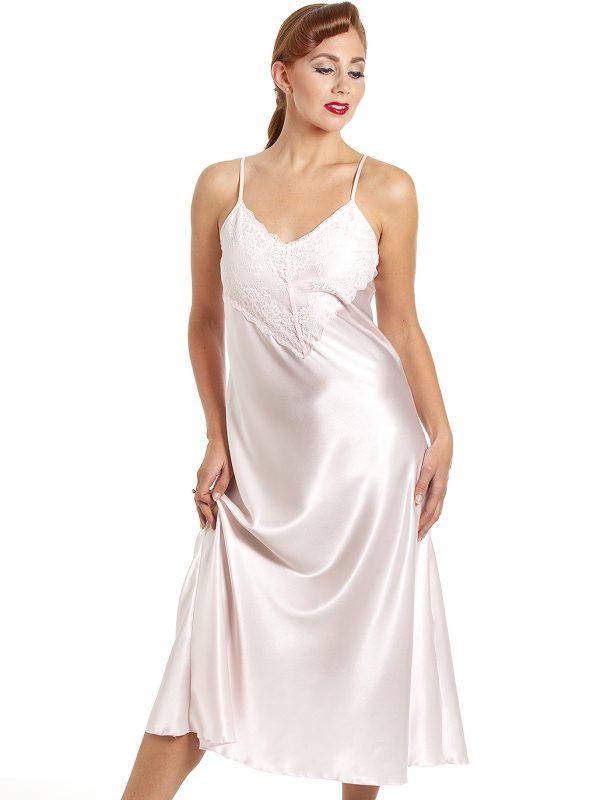 e5de2e285ce Jane Lace Trim Long Satin Robe - Cadillac Pink - Cosmic Girl Clothing