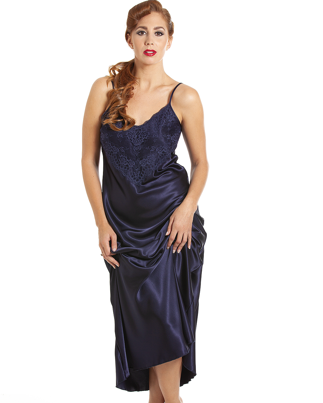 c4814be4e077 Jane Lace Trim Satin Long Nightdress – Night Mist Blue