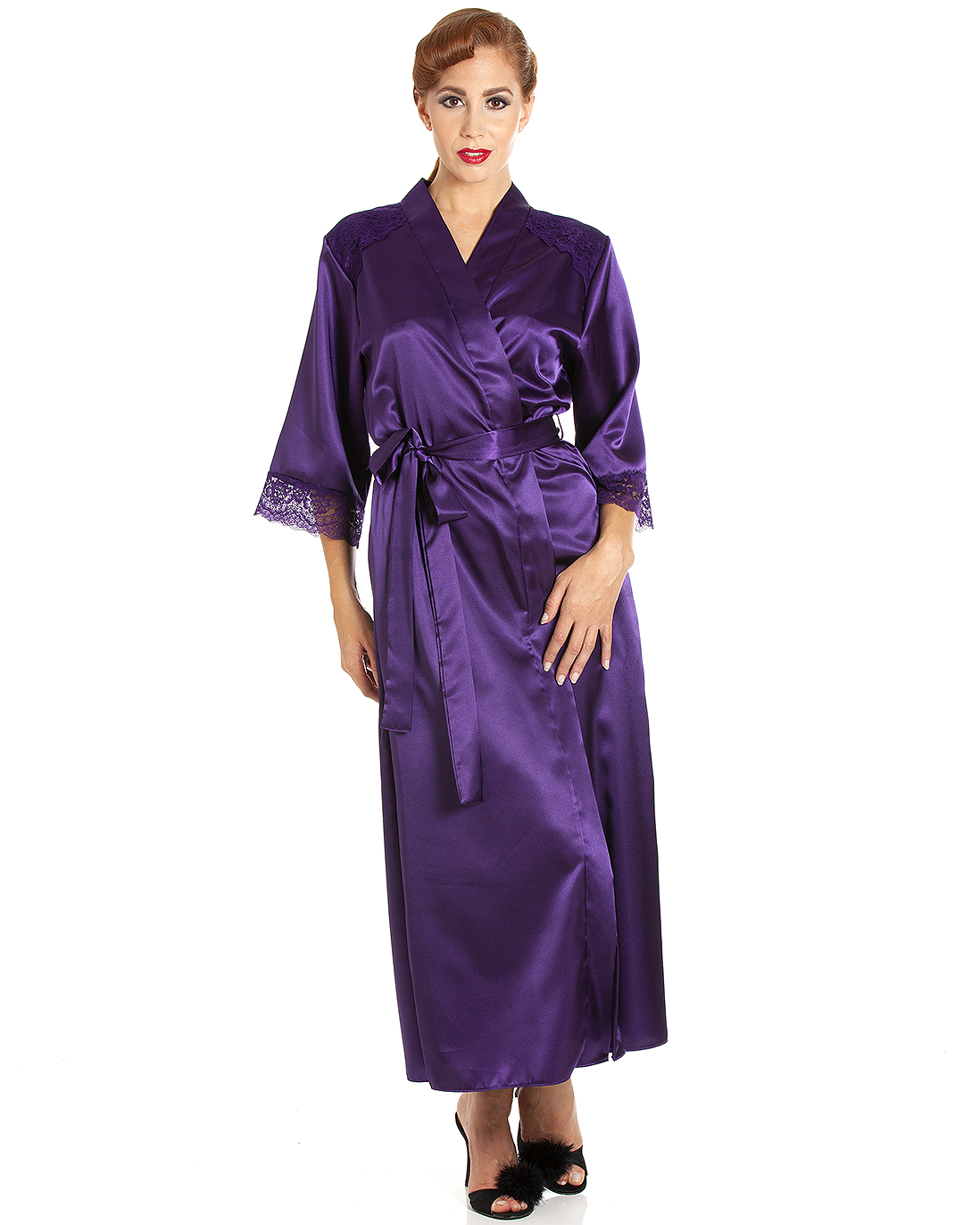 901323747ae Jane Lace Trim Long Satin Robe - Plum Crazy - Cosmic Girl Clothing