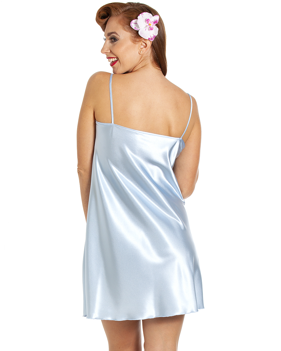 05afeae7cdeb Jane Lace Trim Satin Short Nightdress – Arcadian Blue