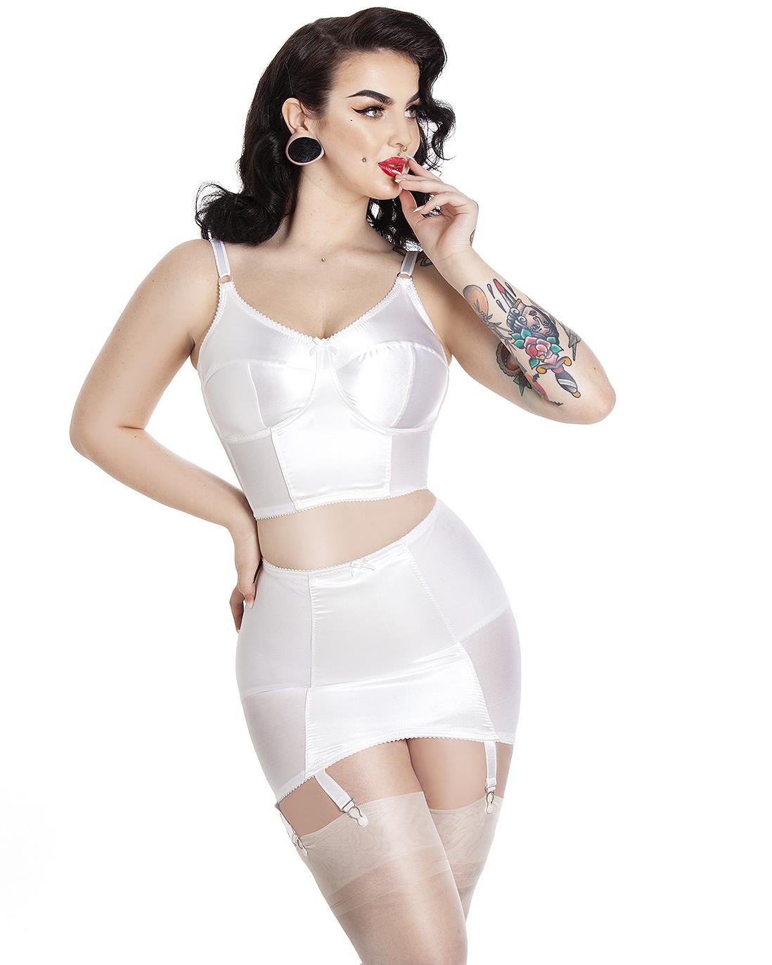 Tallulah Vintage Style Girdle - Wimbledon White - Cosmic Girl Clothing