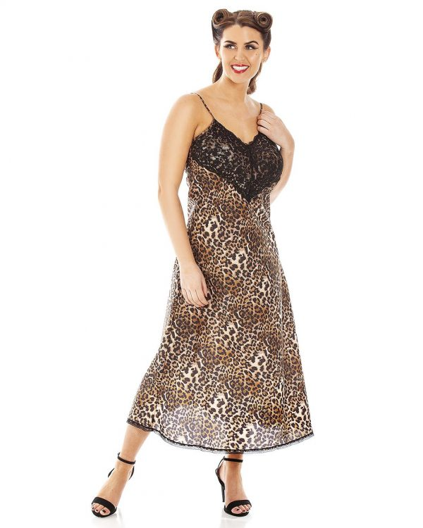 Panthera Leopard Print Lace Trimmed Long Nightdress
