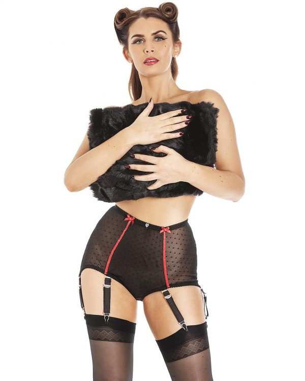 Stellar Retro Vintage stretch tulle Suspender Briefs