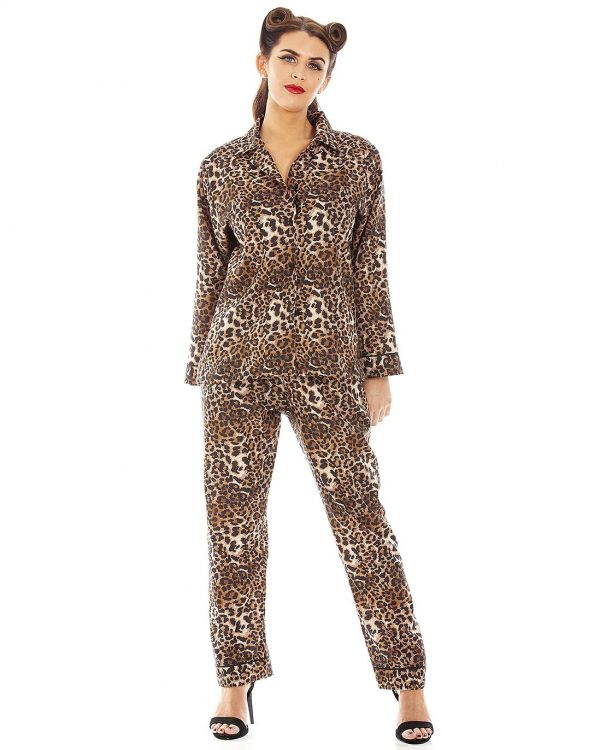 Panthera Leopard Print Full Length Retro Vintage Style Pyjamas